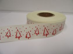 Cream & Red 2 or 20 metres 25mm Christmas with Tree Grosgrain Ribbon Xmas Roll Craft